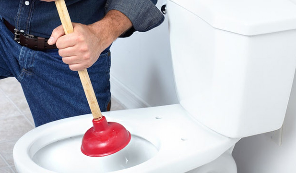 Plumber with a toilet plunger next to toilet